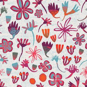 Stripey Daisy Field of Flowers Pale blue