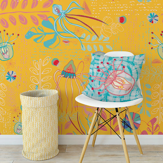 Yellow Sea Creatures wallpaper, chair and toy bin.