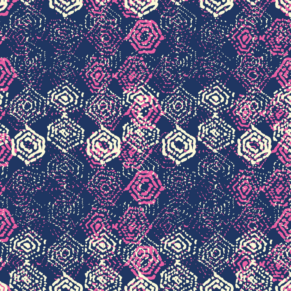 Handdrawn Hexagon Indigo + Pink