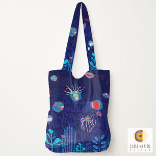 Deep Sea Creatures Dark Blue