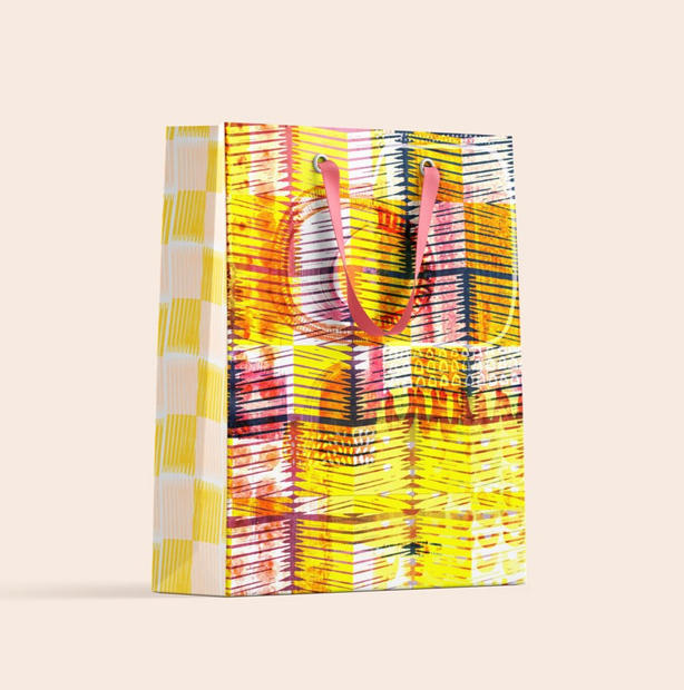 Yellow and Pink Squares layered
