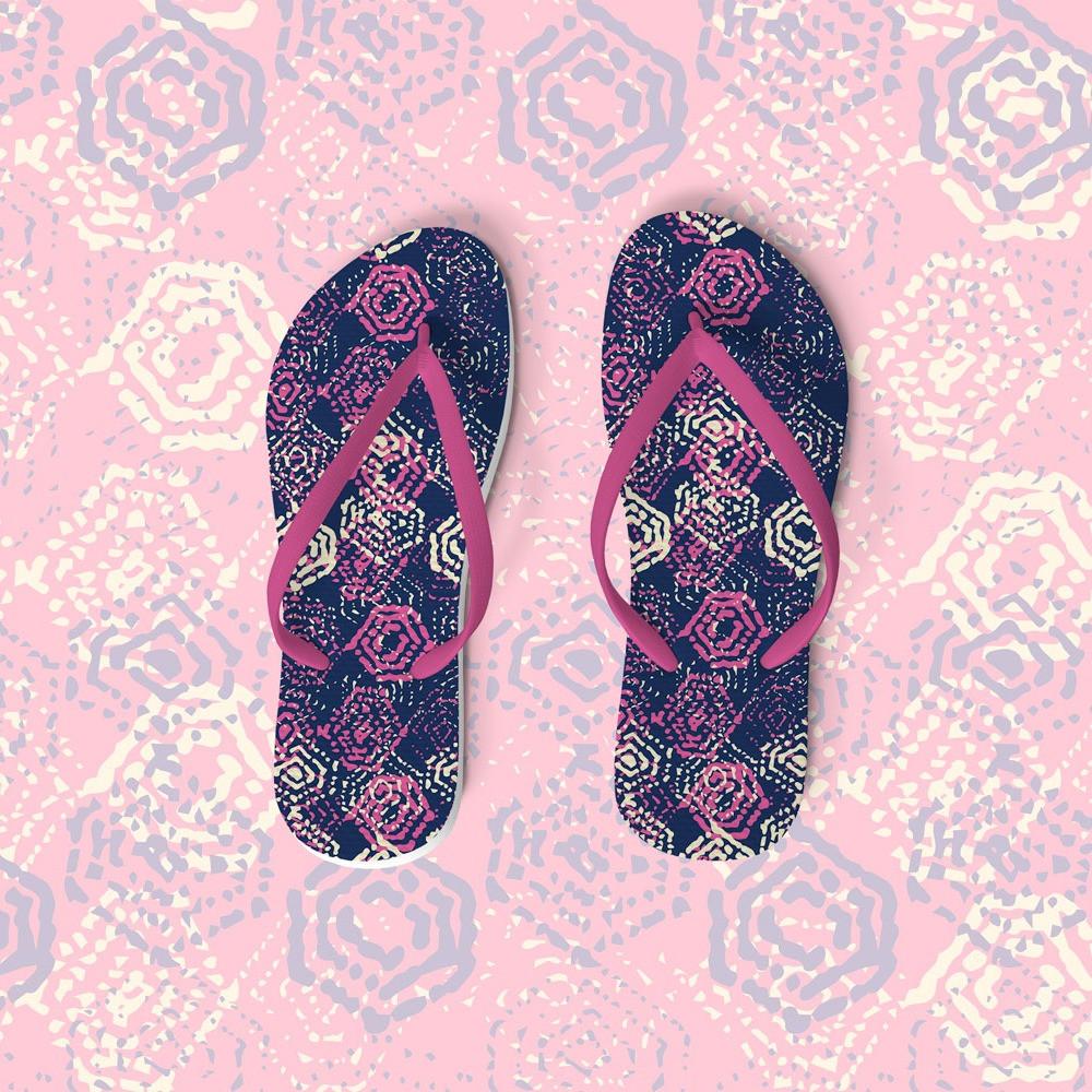 Handdrawn Hexagon Indigo + Pink flip flops