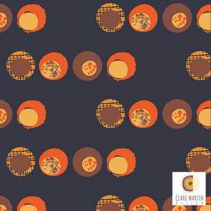 70's Orange Dots Black