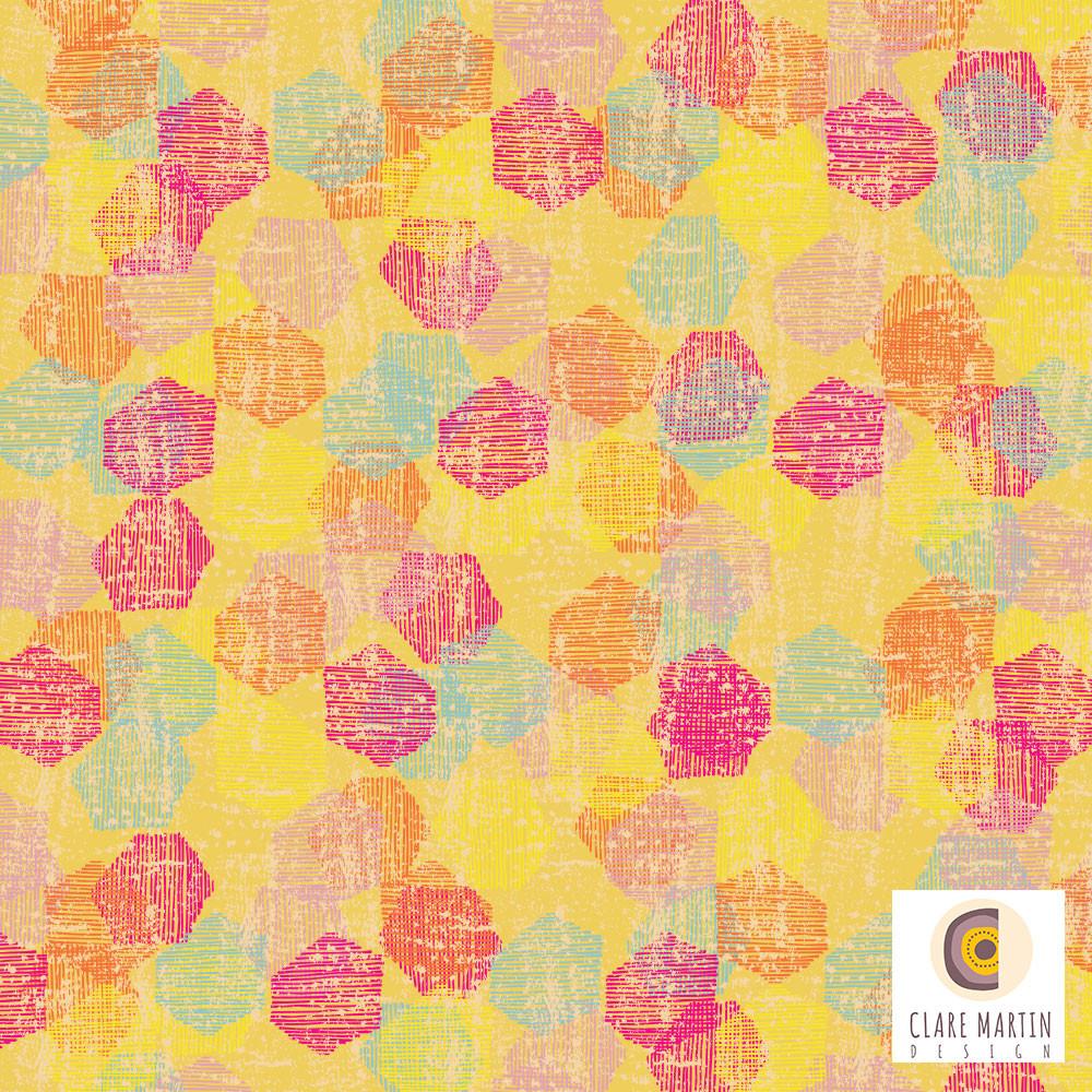Distressed Hexagon Confetti