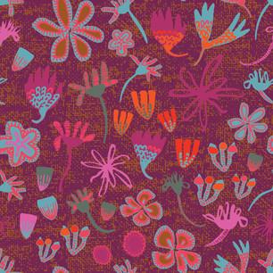 Stripey Daisy Field of Flowers Plum