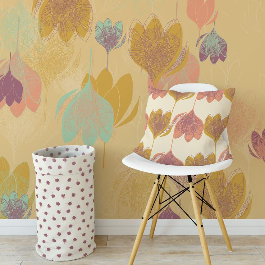 Scandi Violets Mustard wallpaper