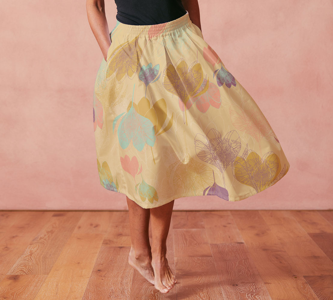 Scandi Violets Mustard skirt