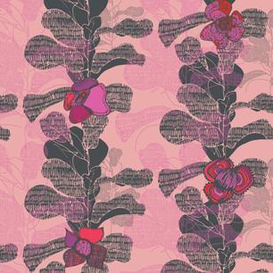 Medieval Floral Wallpaper Pink