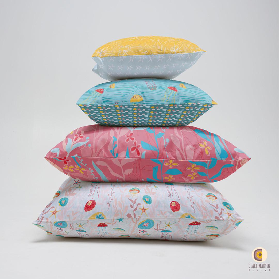 Jellyfish Garden collection cushion stack