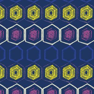 Indigo Handdrawn Hexagons Stripe
