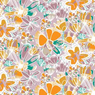 Orange Painted Flowers Lavender