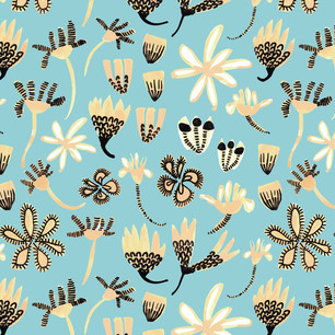 Stripey Daisy Field of Flowers Aqua