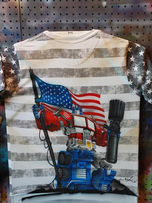 Optimus Prime American Battle T-shirt