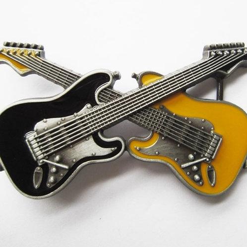 Electric Crossed Guitar Belt Buckle