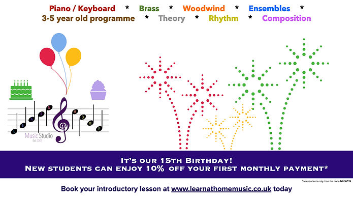 Learn@home Birthday Voucher 15% off first monthly payment Learn@home Music Studio, Dudley, West Midlands