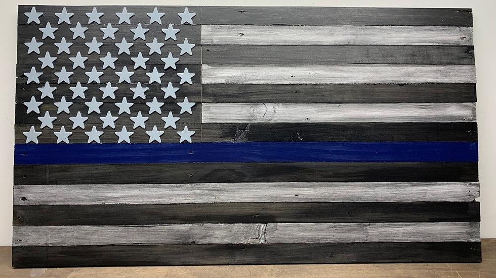 Big Law Enforcement Support Flag (Blue Line)