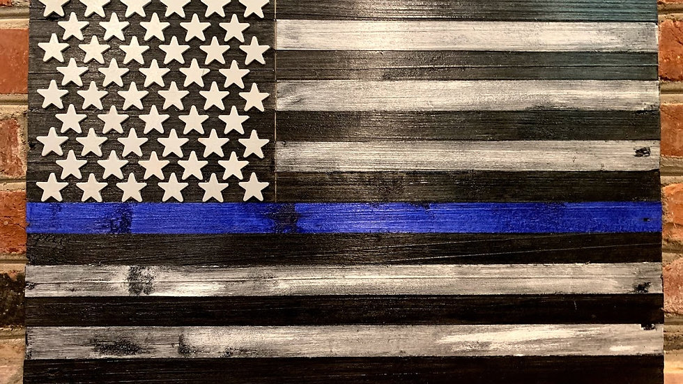 Small Law Enforcement Support Flag (Blue Line)