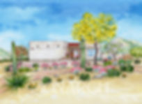 Hand rendered portrait of an Arizona home.
