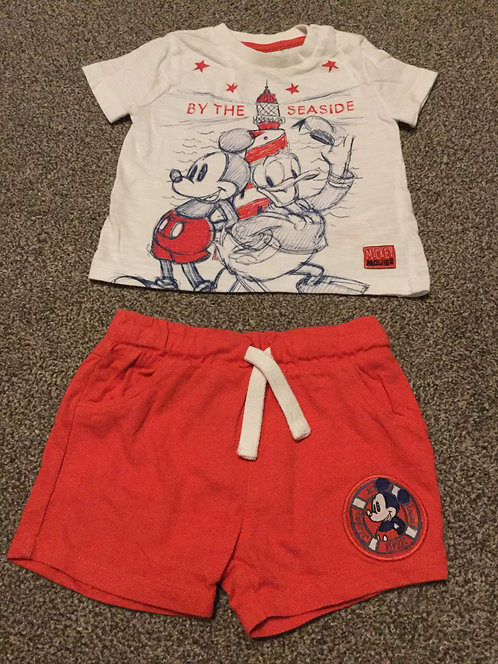 6 - 9 months Mickey Mouse Short's Set Red