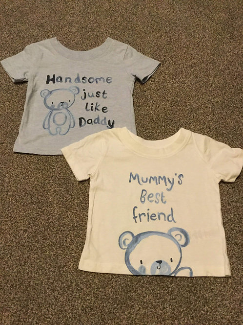 0 - 3 months Mummy and Daddy T- Shirts x 2