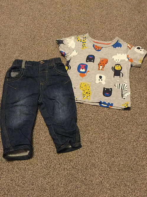 3 - 6 months Jean's & Animal T - Shirt