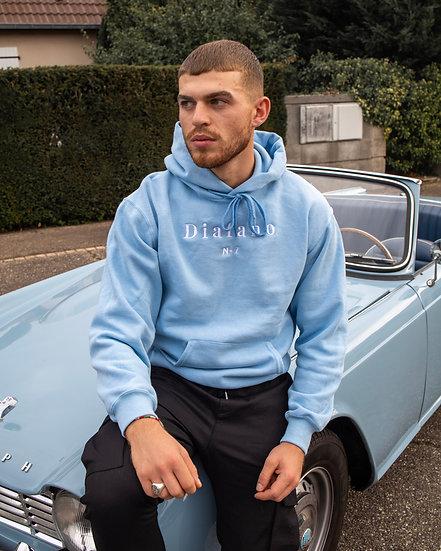 """Hoodie  """"D i a f a n o"""" bleu azur"""