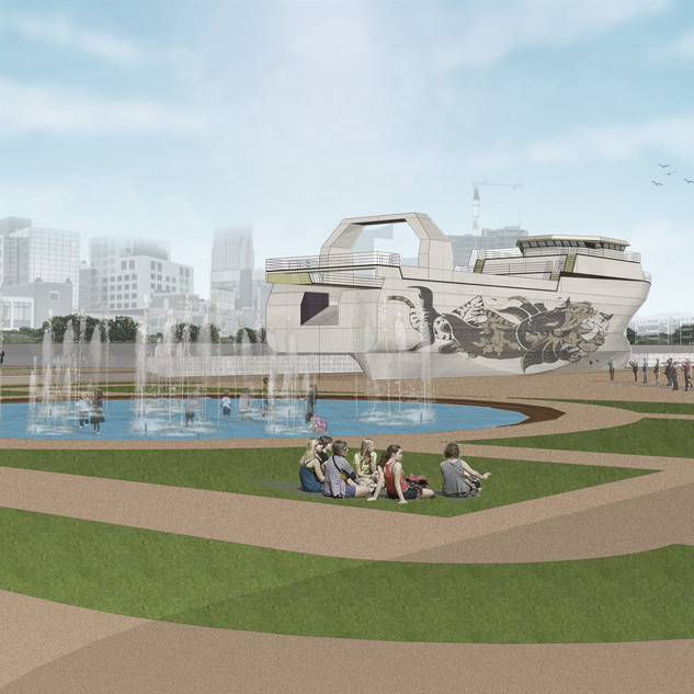 Render of Public Plaza and the Maritime Museuma at the Sassoon Dock Redevlopment Project