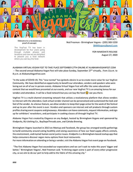 Press Release Alabama Vegan Fest 2020  S