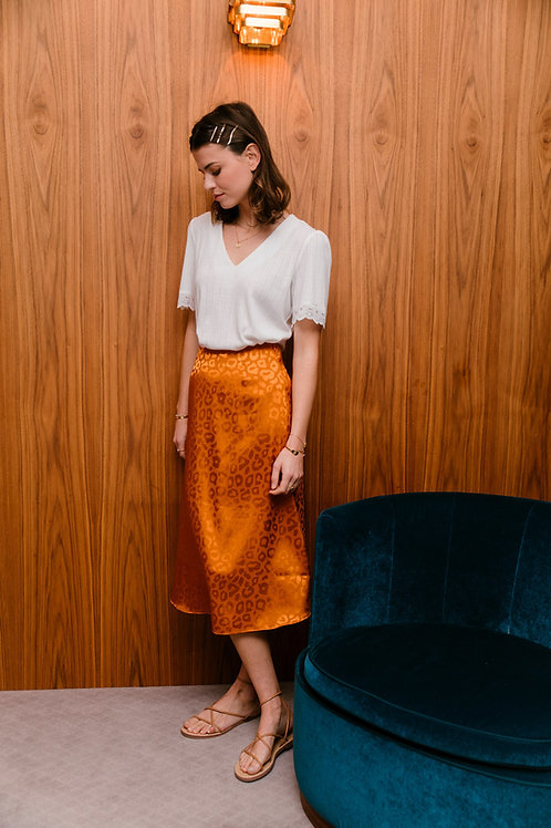 חצאית מידי דמוי סאטן