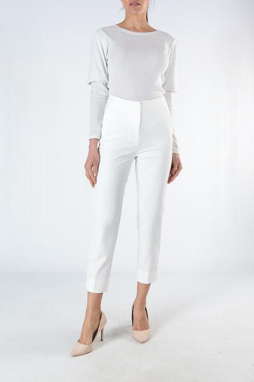 מכנסיים לבנים גזרה גבוהה וישרה, אורך עד הקרסול