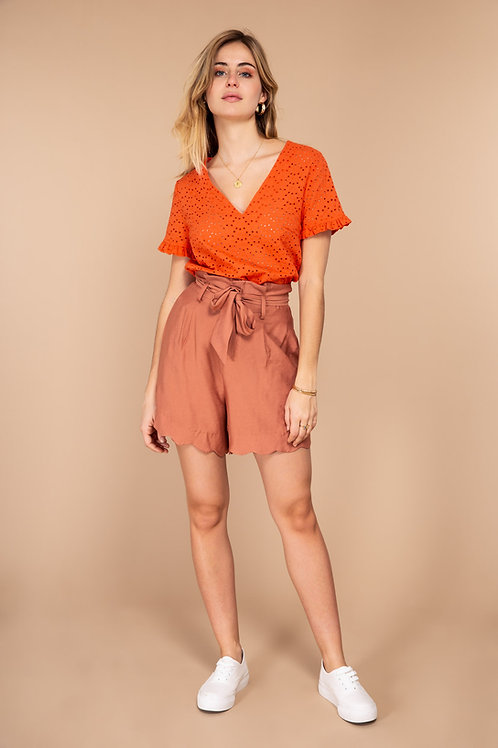 מכנסיים קצרים עם חגורת בד