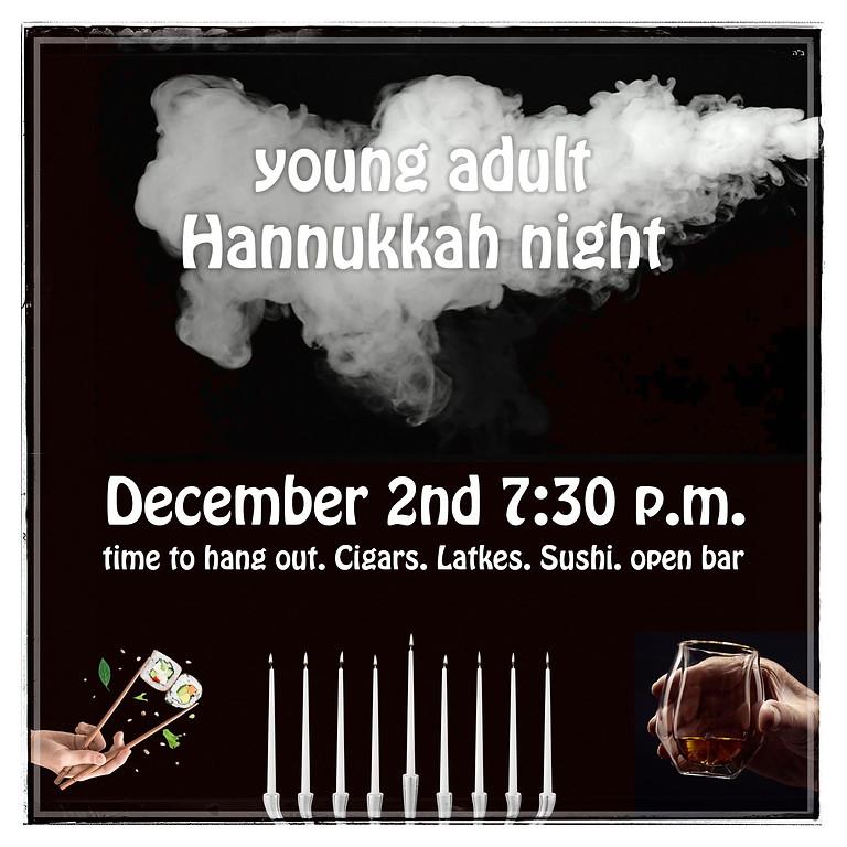 Young adult Hanukkah night