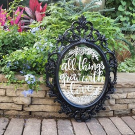 All things grow with love wedding mirror