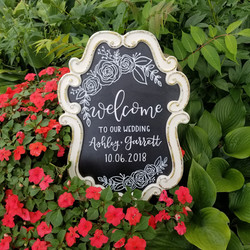 White framed wedding chalkboard with floral illustrations