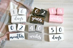 Handmade wooden baby milestone blocks