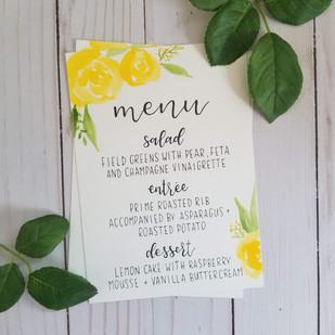 Yellow floral watercolor menu