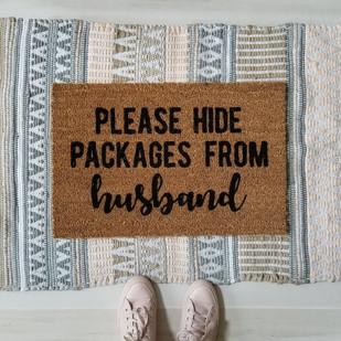 Please hide packages from husband handpainted custom doormat