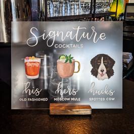 Signature drink illustrations bride, groom and pet portrait