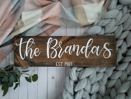 Custom wooden last name sign