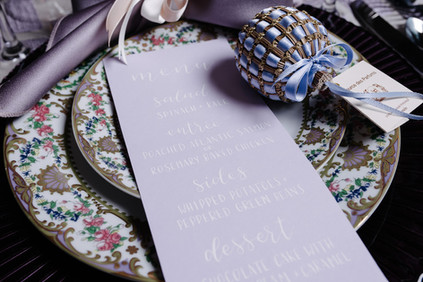 Pointed Pen Menus, Lavendar with white calligraphy