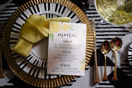Yellow watercolor roses hand written wedding menu calligraphy