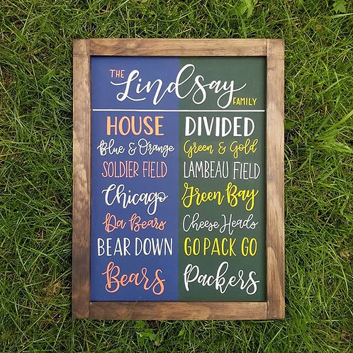 Hand Painted Bears Packers House Divided Sign