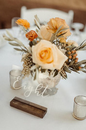 Clear Acrylic Table numbers with wood bases