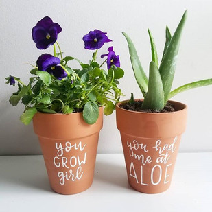 Handlettered plantlady pots