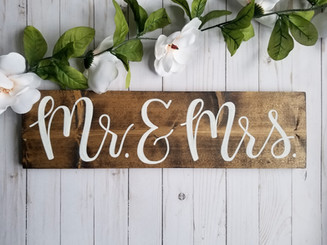 Wooden wedding signage, Mr. & Mrs.
