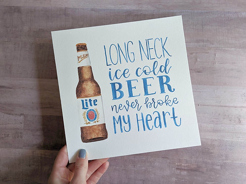Long Neck Ice Cold Beer Watercolor Print | Various Sizes