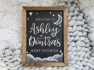 Baby shower welcome chalkboard cloud star theme