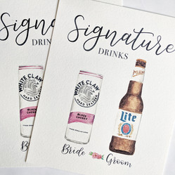 Signature Drinks Watercolor White Claw Miller Lite