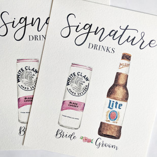 Signature Drinks Watercolor Miller lite and white claw