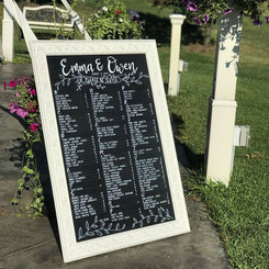 Chalkboard seating board